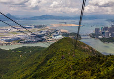 View from cable car in Hong Kong. A view at the Hong Kong airport from cable car Stock Images
