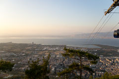 View of the cable car and izmir landscape in teleferik Stock Photos