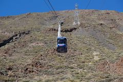View of cable car Mt Teide,_Tenerife, Spain Stock Photo
