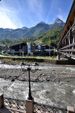 View of the cable car station Gazprom, Krasnaya Polyana Royalty Free Stock Photography