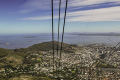 View from a cable car at Table Mountain royalty free stock photo
