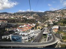 Semi aerial city scene from cable car, Funchal, Madeira stock photography