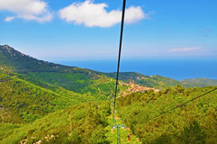 The view from the cable car to the island of Elba Royalty Free Stock Photo