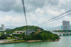 View from cable car to Lantau island, Hong Kong Stock Photography