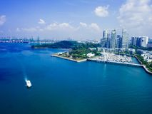 View of cable car to Sentosa island, Singapore. Stock Photo