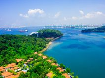 View of cable car to Sentosa island, Singapore. stock photos