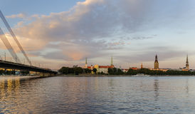 View on the cable stayed bridge and buildings of old Riga Stock Photography
