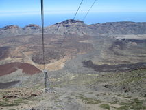 View from the cablecar on the volcano. Panorama, cablecar, view, mountain desert bellair Royalty Free Stock Image