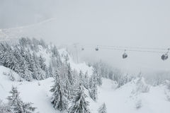 View of the cableway going down to the Chamonix village, France Stock Images
