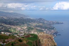 View from Cabo Girao at Funchal, Madeira island. View from Cabo Girao towards Funchal on Portuguese island of Madeira royalty free stock photography