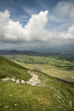View from Cadair Idris mountain North over countryside landscape Stock Photography