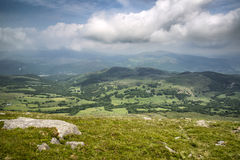 View from Cadair Idris mountain North over countryside landscape Stock Image