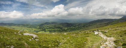 View from Cadair Idris mountain North over countryside landscape Royalty Free Stock Image