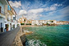 View of Cadaques on sunny day, Costa Brava, Spain stock photos