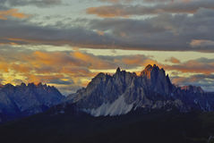 View of Cadini di Misurina from Marmarole at sunset. Dolomites Stock Image