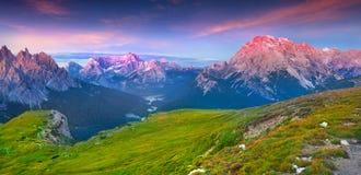 View of the Cadini di Misurina range, Cristallo and Sorapis grou Stock Image