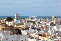 View at Cadiz from the cathedral, Spain. Sight from Poniente Tower, one of the towers of Cadiz Cathedral, upon Torre Tavira and the Atlantic Ocean. This tower is Royalty Free Stock Photos