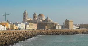View of Cadiz Cathedral with zoom in stock video