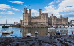View on Caernarfon Castle from accross the Seiont Stock Photo