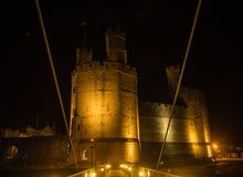 View on Caernarfon Castle at night Royalty Free Stock Photo