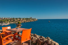 View from a cafe at old harbor and downtown Marina in Antalya, T Royalty Free Stock Image