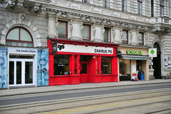 View of cafe and shops in the street of Vienna Stock Photo