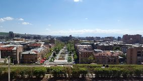 View of The Cafesjian Sculpture Garden from Yerevan Cascade royalty free stock photo
