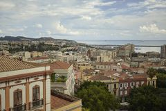 The view of Cagliari overlooking the sea. royalty free stock photography