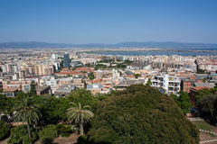 View on Cagliari, Sardinia. View on the city of Cagliari and salt flats in Sardinia, Italy Royalty Free Stock Photos