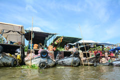 View of the Cai Rang floating market in Can Tho, Vietnam Royalty Free Stock Photography