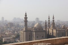 View from Cairo, Egypt from the The Sultan al-Nasir Muhammad ibn Qala`un Mosque. Is an early 14th-century mosque at the Citadel in Cairo, Egypt. It was built by Stock Images