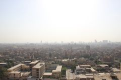 View from Cairo, Egypt from the The Sultan al-Nasir Muhammad ibn Qala`un Mosque. Is an early 14th-century mosque at the Citadel in Cairo, Egypt. It was built by Royalty Free Stock Photography