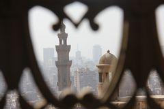 View from Cairo, Egypt from the The Sultan al-Nasir Muhammad ibn Qala`un Mosque. Is an early 14th-century mosque at the Citadel in Cairo, Egypt. It was built by Royalty Free Stock Image