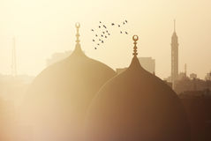 View of islamic cairo in egypt. Cairo tower with old mosque and birds flying in egypt during sunset at summer stock photo