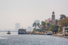 View of Cairo from Nile River Stock Images