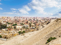 View of Cairo from the ruins of pyramids in Giza, Egypt Royalty Free Stock Photo