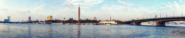 View on Cairo tower from the Nile, morning panorama stock image