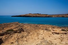 View of Cala Croce in Lampedusa. View of Cala Croce beach in Lampedusa, Sicily. Italy stock photo