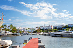 View of the Cala D'Or yacht marina harbor Royalty Free Stock Images
