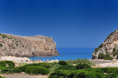 View of Cala Domestica beach, Sardinia, Italy Stock Photos
