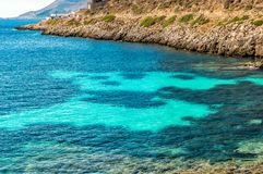 View of Cala Fredda beach on the Levanzo island in the Mediterranean sea of Sicily. View of Cala Fredda beach on the Levanzo island in the Mediterranean sea of royalty free stock image
