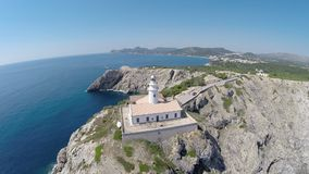 View on Cala Rajada´s Lighthouse (Rise) - Aerial Flight, Mallorca stock video