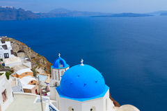 View of caldera with blue domes, Santorini Royalty Free Stock Photos