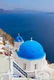 View of caldera with blue domes, Santorini Royalty Free Stock Photography