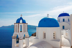 View of caldera with blue domes, Santorini Stock Photo