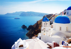 View of caldera with blue domes, Santorini Stock Images