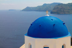 View of caldera with blue domes, Santorini Stock Photos