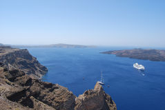 View of the caldera and Nea Kameni from Fira Stock Images
