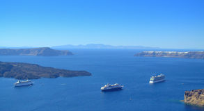 Azure Caldera and moored cruise ships.Santorini,Gr Royalty Free Stock Image