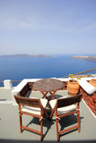 View on caldera and sea from balcony Stock Photo